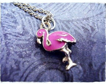 Pink Flamingo Necklace - Pink Enameled Antique Pewter Flamingo Charm on a Delicate Silver Plated Cable Chain or Charm Only