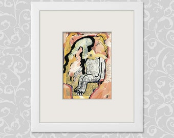 Modern art abstract figurative picture painting drawing original