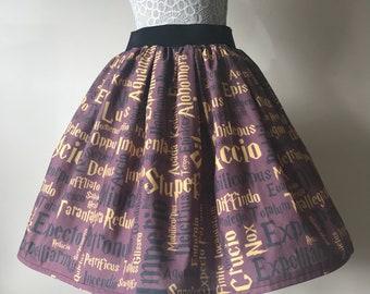 Handmade to order Ladies or girls Harry Potter Gryffindor inspired wizard spells full skater style skirt
