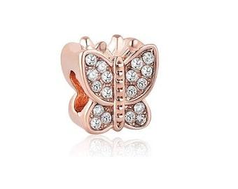 Rose Gold Bead, Butterfly Bead, Rose Gold Bracelet Charm, Large Hole Bead, European Bead, Charm Bead, Add a Bead, Charm Bracelet