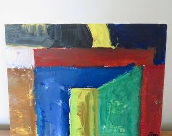 Abstract painting, Doors, original painting, abstract painting, small painting, acrylic on cardboard, modern art, wall art, home decor