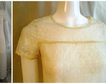 SALE Vintage 1960's White Maxi Long All Lace Dress or Nightgown Column Dress small