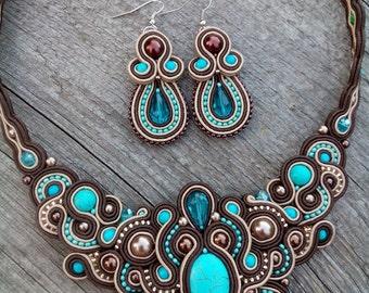 Turquoise Brown Soutache Set - Soutache Turquoise Brown Necklace - Soutache Turquoise Brown  Earrings -  Hand Embroidered Soutache Jewelry