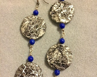 Silver and Black Double Disk Drop Earrings