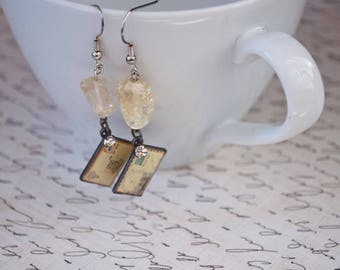 Ice Flake Quartz Earrings with Postcard Charms