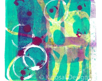 Art Print, Monoprint, Abstract Art, Wall Art, Swirls, Acrylic Painting, printmaking, handmade, gifts, lime green and turquoise, purple