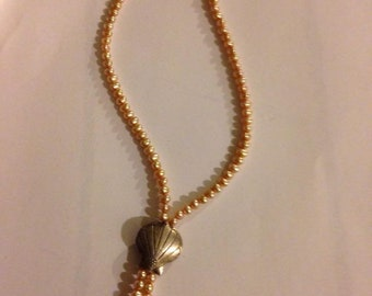 Rose Gold Pearl & Bali Silver Shell Beaded Necklace - Athena's Pearls