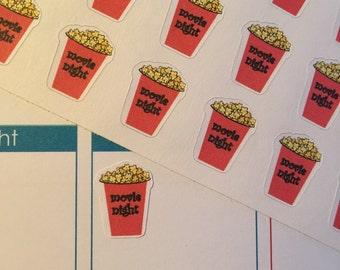 Movie Night Popcorn Stickers perfect for your Erin Condren Life Planner-Filofax-Gillio