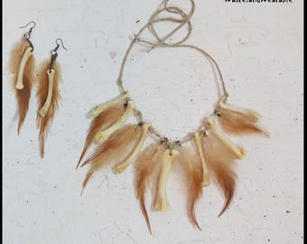 BONE and FEATHER NECKLACE Tribal Warrior APOCALYPTiC Necklace and Earrings