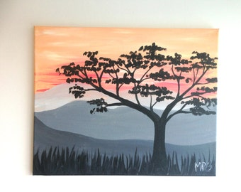 Desert Tree Painting, Desert Landscape, Sahara Tree, Sunset Painting, Nature Art, Tree Art, Landscape Painting, Landscape Art, Wall Art