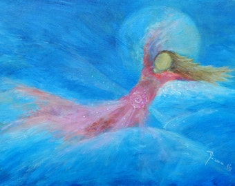 "Original Angel Painting on Canvas ""High into the Sky"" // Waldorf // Present for Her // Christmas Present // Wedding //"
