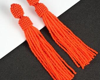 Red beaded tassel, earrings, Oscar de la Renta, long earrings, long beaded tassels, beaded earrings, beaded tassel earrings, boho earrings