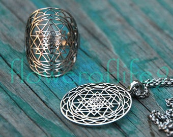 Sri yantra - pendant + ring - Stainless Steel