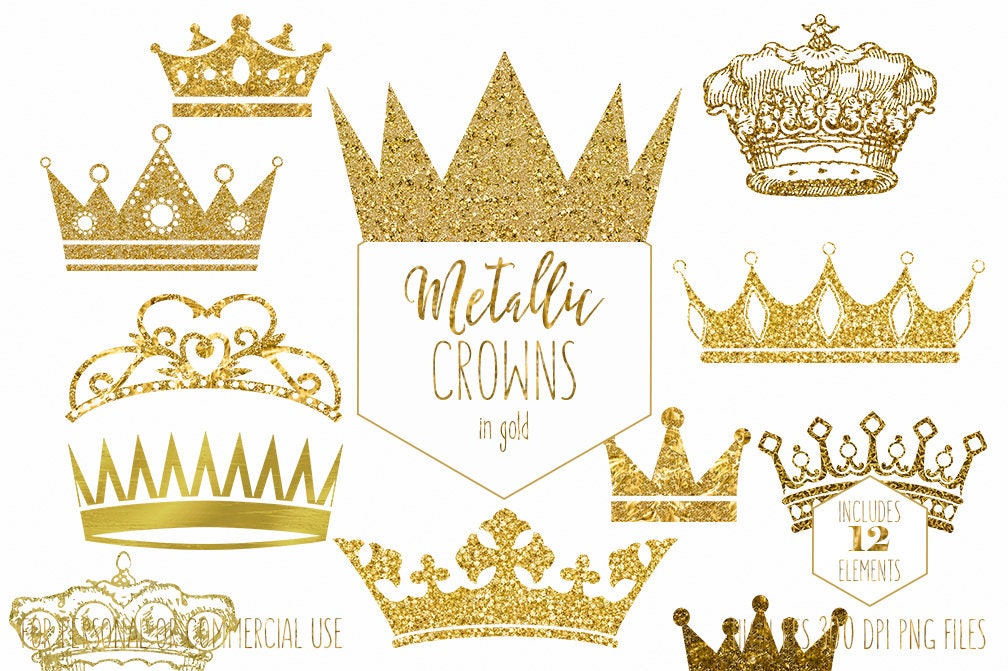 GOLD CROWN CLIPART Commercial Use Clip Art Antique Vintage Crowns ...