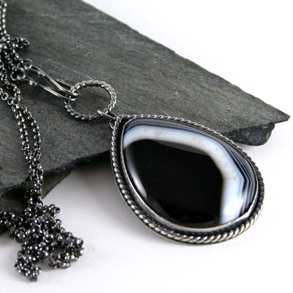Black & White Striped Agate Necklace, Oxidized Sterling SIlver Necklace Artisan Jewelry