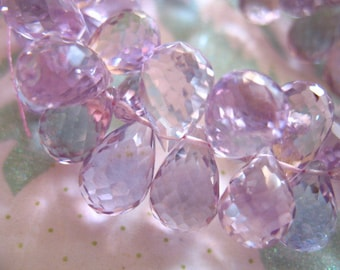 Rose de France Beads, Faceted Briolette / PINK AMETHYST Beads / 2-20 pcs, 8-11 mm / Lilac Pink, february birthstone, bridal brides 811
