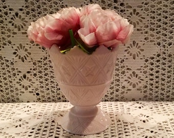 Shell Pink Milk Glass#2255 Footed Vase with Saw Tooth Top