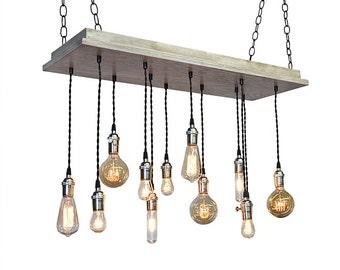 Urban Chandelier -  Industrial Lighting, Beach House Light Fixture, Rustic Lighting, Bare Bulb Pendants