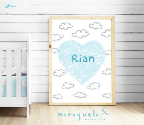 CUSTOM light BLUE HEART baby illustration with personalized name.Custom Newborn gift.Wall Nursery room,Hearts Art Boy Babies,bedroom kids