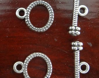 Lot 10 clasps toogles silver-plated antiqued 10 x 12 mm shank 17 mm - fma052