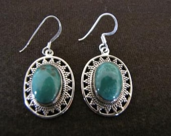 Sterling Silver Oval Turquoise Earrings