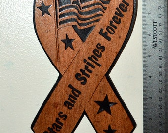 Stars and Stripes Forever Ribbon Scroll Saw Wall Plaque