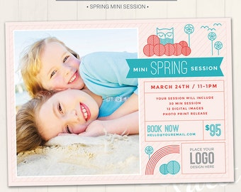 Spring Mini Session Marketing Board / Photography Marketing Board - Photoshop Template for photographers (DM24) - INSTANT DOWNLOAD