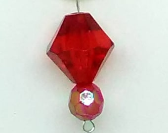 Red Bicone and Faceted Round Beaded Pendant Necklace