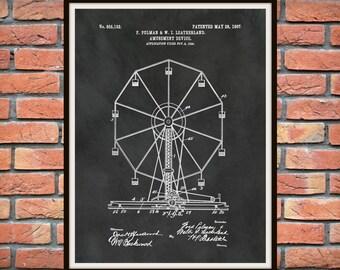 Patent 1907 Ferris Wheel  - Art Print - Poster Print - Wall Art - Carnival Ride - Amusement Park Ride