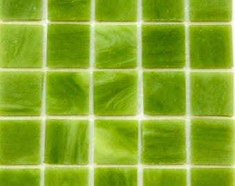 """20mm (3/4"""") Lime Kiwi Green Tiffany STAINED GLASS Mosaic Tiles//Mosaic Supplies//Mosaic Pieces//Crafts"""