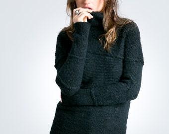 Wool Sweater / Black Sweater / Black Jumper / Winter Sweater / Black Blouse / Knitted Sweater / Marcellamoda k - MB0790