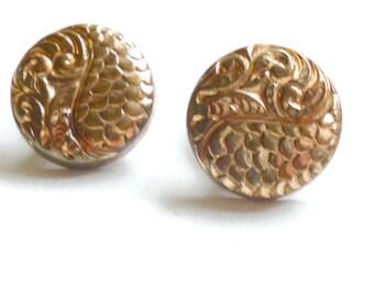 Antique Gold Cufflinks CUFF BUTTONS 9k Repousse Marked Nov 15 1851