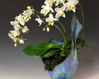 Decorative Vase in Unicorn Sparkle and Crystalline Glaze, Hand Built Porcelain Art Vessel in Blushing Purple, Blue and Green. 11.25 in tall.