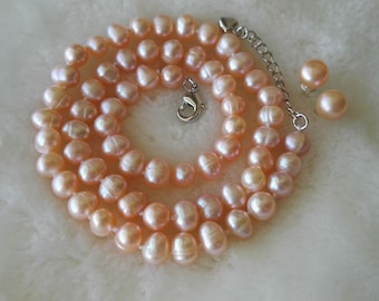 PEARL SET - 6-7 mm pink freshwater pearl necklace & earrings set