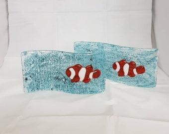 Fused Glass Suncatcher/Candle Holder 3D Clown Fish Design
