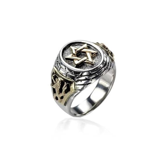 Sterling Silver Gold Judaica Mens Ring Star Of David Lion Of
