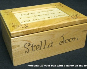 Custom Laser Engraved Maple Keepsake Box