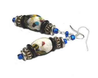 Beaded Earrings, African Krobo Trade Beads with Colorful Hues and Silver Accents for Pierced Earrings