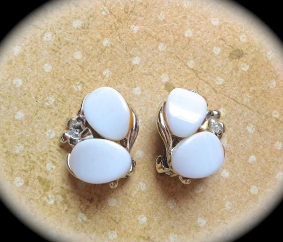 Clip on milk glass flower earrings