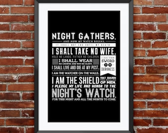 """Game of Thrones - Night's Watch Oath print 11X17"""""""