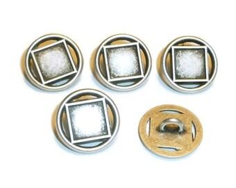 Antique Silver Geometric Button - Wrap Bracelet Button - Wrap Bracelet Clasp - Bracelet Button - Shank Button - Metal Button - 15mm button