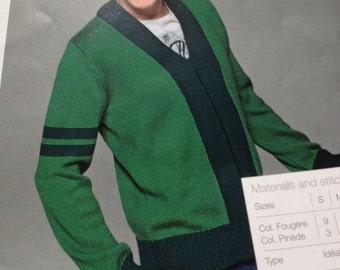 Mens Zipped Two Tone Cardigan Knitting Pattern
