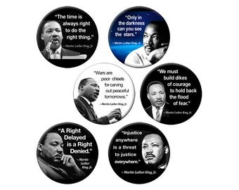 Choose ONE Lg MLK Magnet - Choose from 6 Different 2.25 inch Martin Luther King Quotes on a Round Fridge Magnet