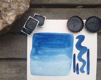 Prussian Blue. Half pan, full pan or bottle cap of handmade Prussian blue watercolor paint