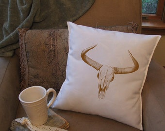 horns and skull sepia throw pillow cover, custom throw pillow, decorative throw pillow