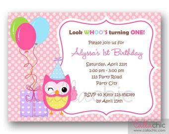 Owl 1st Birthday Invitation PRINTABLE - Girl / Boy 1st Birthday Party Invitation - with Balloon and Presents