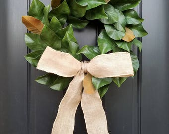 Magnolia Wreaths, Signature Magnolia Wreath, Farmhouse Decor, Faux Magnolia Leaf Wreath, Rustic Farmhouse Style, Magnolia Leaf