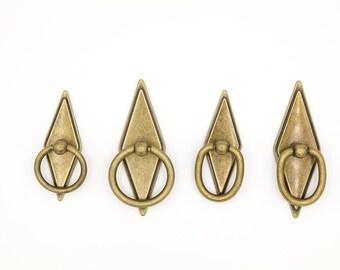Antique Brass Drawer Pulls Drawer Handles, Rhombus, Cabinet Door Hardware,