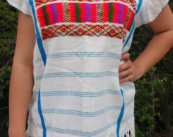 Traditional loom blouse with vivid blue color