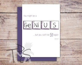 Printable 60th Birthday Card | Greetings Card Periodic Table | For Her Birthday | Unique Fun Card | Funny Birthday Card | 5 x 7 inch